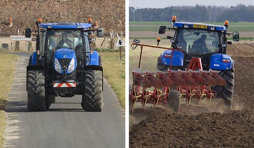 contrôle pneu tracteur sur route et aux champs