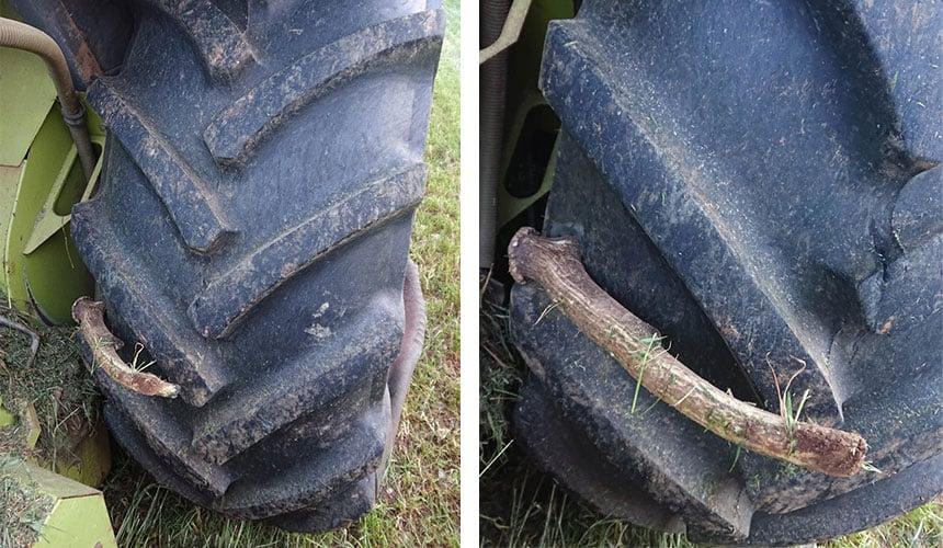 crevaison du pneu d'une moissonneuse-batteuse