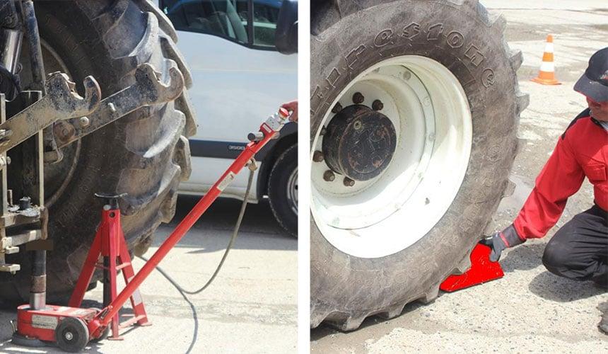 Levage du tracteur : chandelle et cale roue