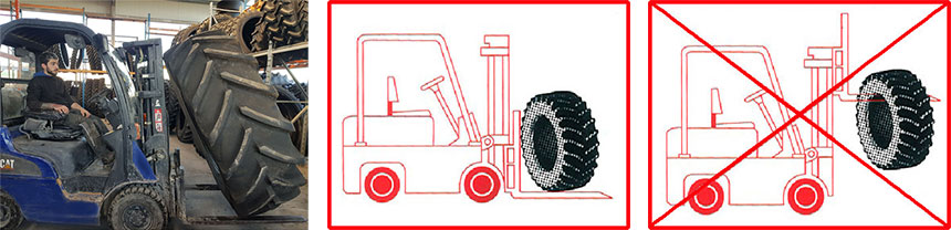 manipuler des pneus avec un matériel de levage