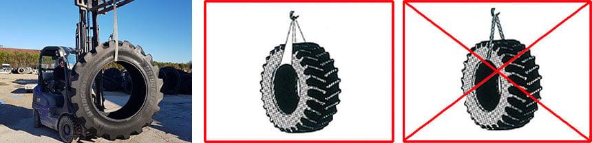 manipuler des pneus avec un suspendeur