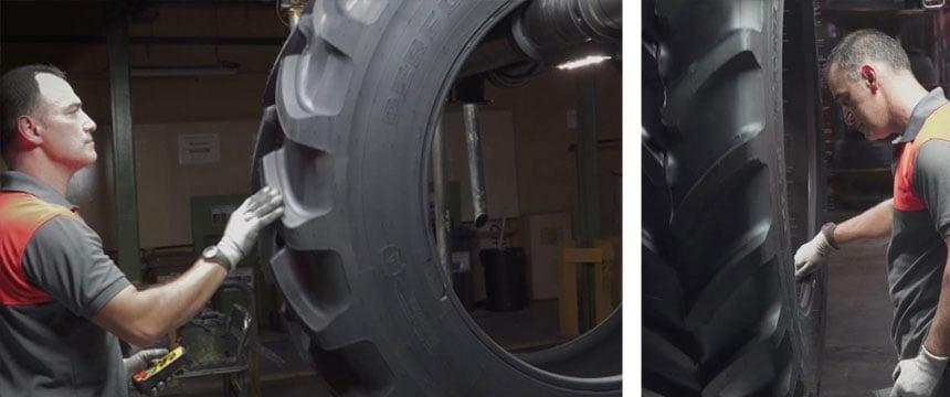 Inspection manuelle des pneus de tracteur de qualité