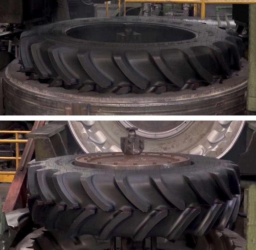Démoulage du pneu après vulcanisation