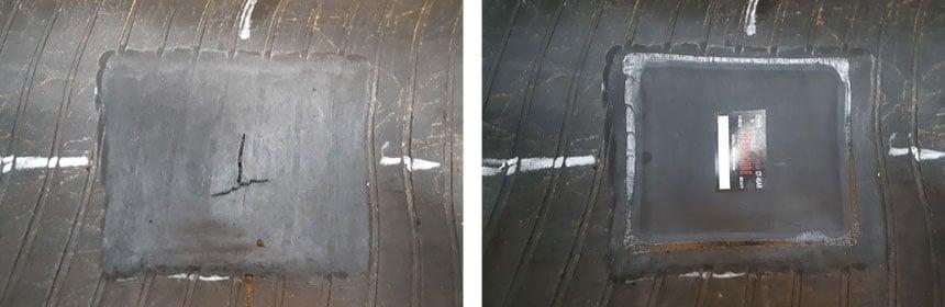 Réparation avec pose d'emplâtre et vulcanisation à froid