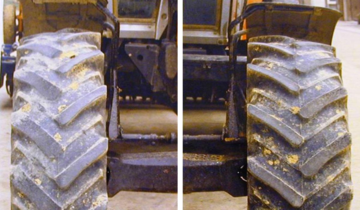 usure anormale des pneus de tracteur à l'avant